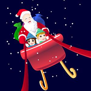 Santa on sleight vector