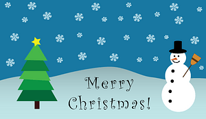 Merry Christmas snowman scene vector
