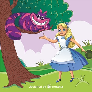 Alice in Wonderland and Cheshire Cat vector