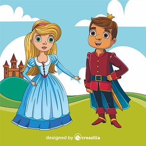 Cinderella and Prince vector