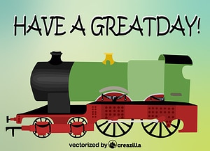Greeting Card with a Train vector