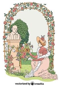 Flowers from Shakespeare's garden vector