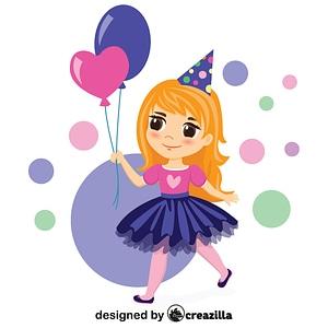 Birthday girl with balloons vector