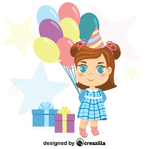 Little girl birthday vector