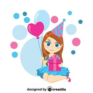 Birthday girl with balloons and gift box vector