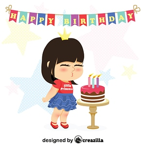 Little girl blowing out candles vector