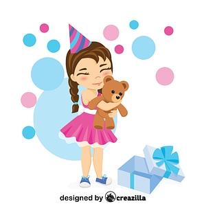 Little girl hugging a new teddy bear vector