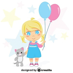 Little girl with balloons and kitten vector