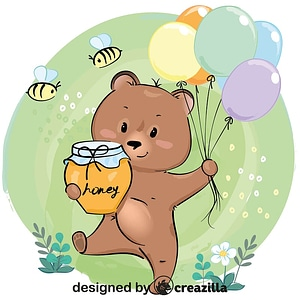 Cute bear with honey and balloons vector