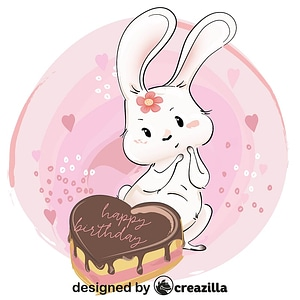 Cute bunny with her birthday cake vector