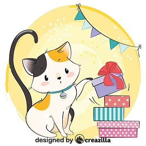 Cute cat with gifts boxes vector