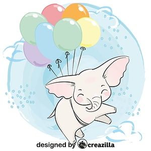 Cute elephant flying with balloons vector