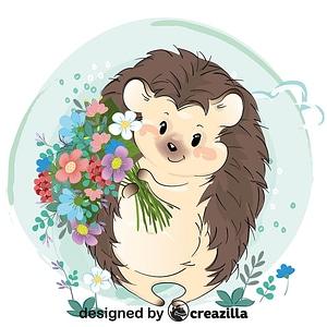 Cute hedgehog with flowers vector