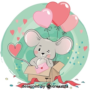 Cute mouse in gift box vector