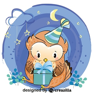 Cute owl with gift vector