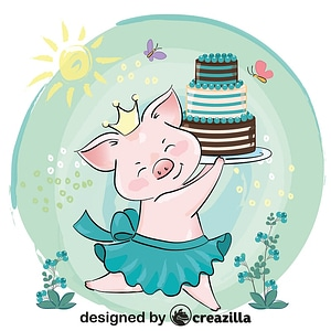 Cute pig princess with birthday cake vector