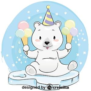Cute polar bear with ice cream vector