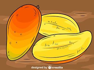 芒果切成薄片矢量图像