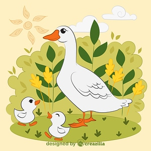 Duck with ducklings vector